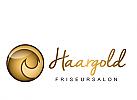Logo, Markenzeichen, Salon, Friseur, goldene Locke,