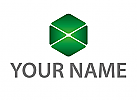 Zeichen, Zeichnung, Symbol, Signet, Sechseck in grün, Logo