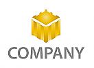 Turm, Festung, Burg in Gold Logo