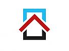 Zeichen, Signet, Logo, Haus, Dach, Pfeil, Rechteck, Abstrakt