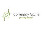 Zeichen, Zeichnung, Signet, Blätter, Pflanzen in grün Logo