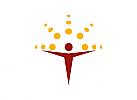 Zeichen, zweifarbig, Signet, Mensch, Kugeln, Sonne, Logo
