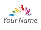 Zeichen, Zeichnung, Wellen, Linien in Regenbogenfarben Logo