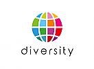 Zeichen, Signet, Erde, Segmente, Vielfalt, Diversity