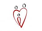 Zeichnung, zweifarbig, Signet, Herz, Familie, Vater, Mutter, Kind
