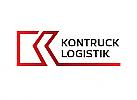 Zweifarbig, Zeichen, Symbol, Signet, Logo, Transport, Logistik, K
