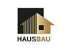 Zeichen, zweifarbig, Signet, Haus, Bau, Handwerk, Schreiner, Architekz, Immobilie