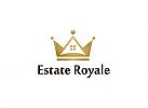 Ö, Zeichnung, Zweifarbig, Signet, Symbol, Logo, Krone, Haus, Immobilien, Makler