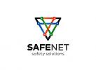 Ö, Zeichen, Signet, Dreieck, Net, Netz, Netzwerk, Sicherheit, Internet, Kommunikation bunt Logo