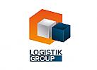 Zeichen, zweifarbig, Symbol, Signet, Quader, Logistik, Transport
