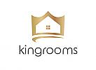 Zeichen, zweifarbig, Symbol, Signet, Krone, Haus, Immobilie, Homestaging, Bau, Architekt, Logo