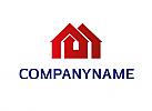 Zeichen, zweifarbig, Symbol, Signet, Logo, Immobilienmakler, Haus, Bau, Handwerk
