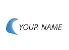 Ökologie, Zweifarbig, Viele Wellen, Linien in blau, Logo