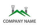 Zwei Dächer mit Schornsteinen Logo
