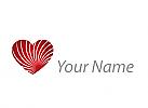 Zweifarbig, Zeichen, Herz, viele Linien, Logo
