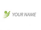 Zweifarbig, Zeichen, Sport, Fitness, Kugel und Wellen, Person, Logo
