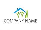 Ökohaus, Zwei Personen, Haus, Bäume, Logo