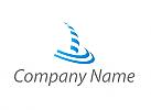 Zeichen, Zeichnung, Wellen, Segelschiff, Boot und Wellen in blau, Logo