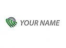 Zweifarbig, Kugel, Pfeile, Logo