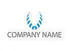 Ökologie, Zweifarbig, Zwei Flügel, Wappen in blau, Logo