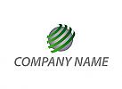 Zweifarbig, Welt, Kugel und Wellen, Halbkreise, Logo