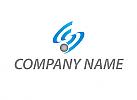 Zweifarbig, Wellen, Halbkreise, Kugel, Logo