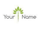Ökologie, Zweifarbig, Wirbelsäule, Blätter, Logo