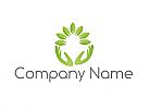 Öko, Zwei Hände, Blätter, Logo