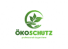 Öko-Schutz, Hand, Blätter, Kreis Logo