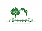 Ö, Öko-Haus, Zuhause, Blatt, Grün, Natur, Baum Logo