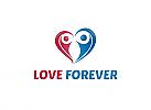 Ö, Zeichen, Herz, Paar, Menschen, Duo, Dating, Liebe Logo, zwei-farbig
