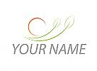 Ökologie, Zwei Blätter, Sonne, Logo