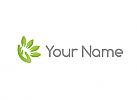 Ökologie, Zeichen, Zweifarbig, Vier Blätter, Hand, Logo