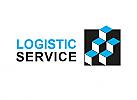 Zeichen, zweifarbig, Signet, Symbol, Transport, Logistik, Abstrakt, Quadrat, Box, Stufen