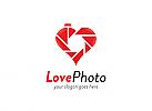 Ö, Herz, Verschluss, Camera, Liebe, Shutter, Lens, Objektiv, Hochzeit, rot Logo