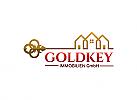 Ö, Zeichen, Immobilien, Haus, Heim, Bauwerk, Grundeigentum Logo, Schlüssel, Gold