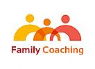 Zeichen, zweifarbig, Signet, Symbol, Bogen, Kugeln, Gruppe, Menschen, Familie, Coaching, Team, Logo