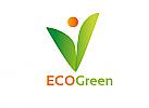 Ökologie, Zeichen, zweifarbig, Signet, Symbol, Pflanze, Blatt, Kugel, Mensch, Logo