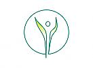 Zeichen, zweifarbig, Signet, Symbol, Mensch, Natur, Blatt, Arztpraxis, Heilpraktiker, Physiotherapie, Logo