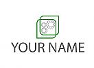 Zahnräder und Rechtecken Logo