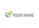 Zwei Personen und Rechtecke Logo
