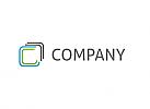 Zwei Rechtecke in grün und blau Logo