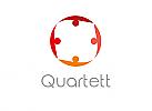 Zeichen, zweifarbig, Signet, Symbol, Menschen, Gruppe, Team, Quartett, Logo