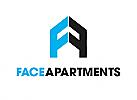 Zeichen, zweifarbig, Signet, Symbol, Dach, Immobilie, Haus, Buchstabe, F, A, Logo