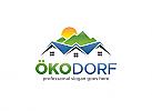 Öko-Dorf, Haus, Immobilien, Berg, Sonne, Dorf, Heim, Bergtourismus Logo
