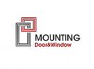 Zeichen, zweifarbig, Symbol, Signet, Logo, Rahmen, Fenster, Türen