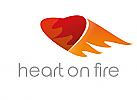 Zeichen, zweifarbig, Signet, Symbol, Herz, Flamme, Feuer, Dating, Logo