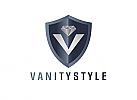 Zeichen, zweifarbig, Signet, Symbol, Wappen, Schild, Diamant, Brillant, V, Logo