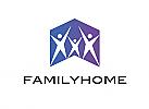 Zeichen, zweifarbig, Signet, Symbol, Menschen, Gruppe, Familie, Haus, Pfeil, Logo