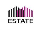 Zeichen, zweifarbig, Signet, Symbol, Haus, Immobilie, Real Estatel, Logo
